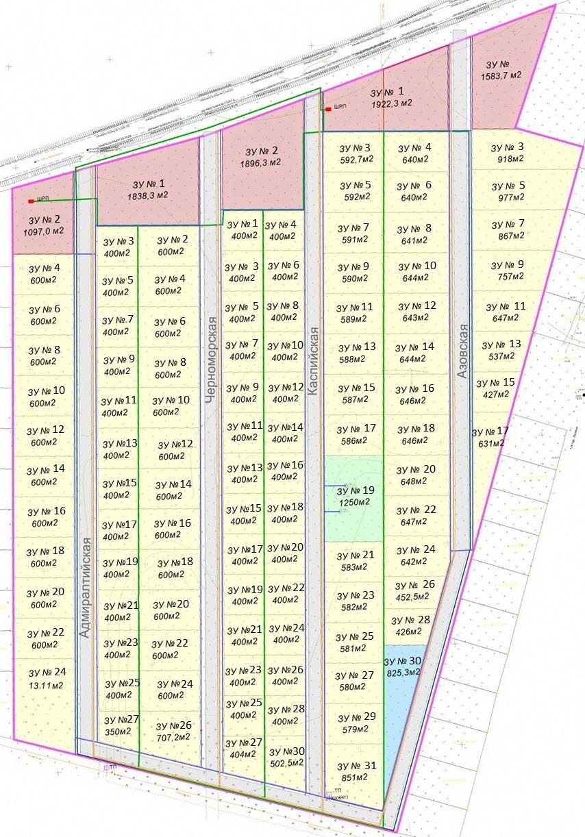 План поселока АДМИРАЛТЕЙСКИЙ. Строительство жилых домов площадью от 100 м2.